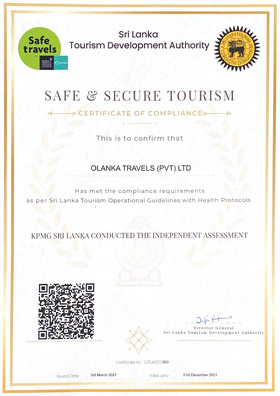 Olanka Travels Safe & Secure Travel Certificate