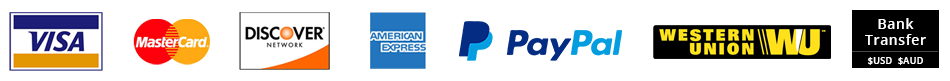 We offer All types of credit & debit cards & Paypal